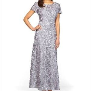 A-Line Rosette and Sequin Long Gray Evening Gown